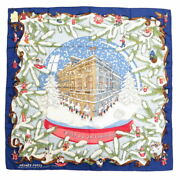 Hermes Carre 90 Noel Au 24 Faubourg Christmas At Fable Silk 100 Blue No.8740