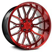 Axe Ax6.2 Compression Forged Wheels 22x12 -44 5x139.7 87.1 Red Rims Set Of 4