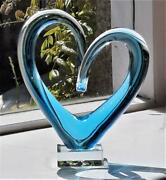 Gorgeous Blue Glass Heart Shaped Sculpture On Square Base