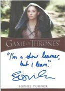 Game Of Thrones Iron Ann S1 Sophie Turner Iand039m A Slow Learner Autograph Card