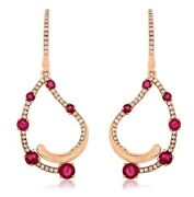 Estate 1.44ct Diamond And Aaa Ruby 14k Rose Gold 3d Tear Drop Hanging Earrings