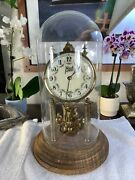 Vintage Wurthner Hxm Glass Dome Clock West Germany Rare Working Gorgeous Clock