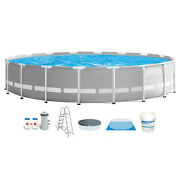 Intex 18ft X 48in Frame Above Ground Swimming Pool Set W/ Pump And Chlorine Tabs
