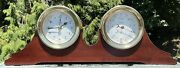 Vintage Brass Weems And Plath Antigua Nautical Clock Barometer Wood Stand 140800