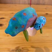 Manatee Mother And Baby Christmas Ornament Hand Carved And Painted E1021