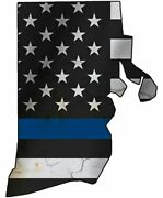 Thin Blue Line Police State Of Rhode Island Laser Cutout Metal Sign 17hx14w.
