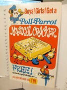 Poll Parrot Shoes 1973 Store Display Sign Premium Musical Cracker Whistle Toy Tv