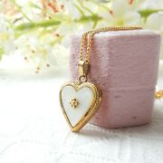 Vintage Rolled Gold Pearl Heart Locket Necklace A D Foreign Jewelery
