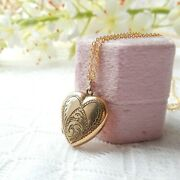 Vintage Rolled Gold Engraved Heart Locket Necklace Gold Jewelery