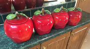 Red Apple Cookie Jars. Set Of 4. Vintage. 10andrdquo Tall Down To 8andrdquo Tall.