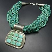 Tony Aguilar Sterling Silver Turquoise 15-strand Necklace With Inlaid Pendant