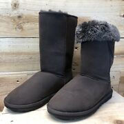 Ugg Women Classic Tall 5815 Chestnut Brown Suede Boots Size W7 Good Condition