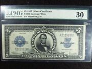 1923 5 United States Silver Certificate Pmg Very Fine 30 Fr282 916b Port Hole