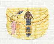 Fishing Creel Basket Handpainted Needlepoint Canvas Ornament By Silver Needle