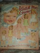 Vtg Watch Me Grow Paper Dolls Merrill 1944 Uncut From One To Six Years Old
