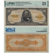 1922 50 Gold Certificate Fr1200 Large S/n Pmg Certified Very Fine 25