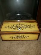 Vintage Metal/ Tin Large Hinged Bread Box/ Two Toned