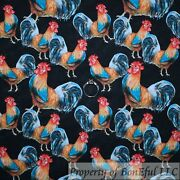 Boneful Fq Cotton Quilt Black Red Rooster Feather Farm Animal Country Western Us