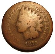 Old Us Coins 1876 Indian Head One Cent Penny 1 C