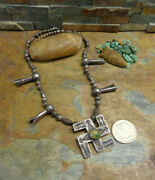 Wow Omg Navajo Whirling Log Arrows Sterling Turquoise Squash Blossom Necklace
