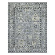8and039x9and0399 Light Gray Angora Oushak Extra Soft Wool Hand Knotted Rug R68475