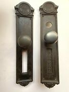 Pair Of Yale Antique Cast Iron Southern Pacific Railroad Exterior Door Set