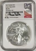 2017 Silver Eagle Ngc Ms 70 Early Releases Mike Castle Signed