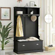 Hall Tree With 4 Hooks Coat Hanger Entryway Bench Storage Bench 3-in-1 Design Us