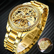 Mens Stainless Steel Gold Tone Skeleton Automatic Mechanical Wrist Watch Luxury
