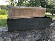 Antique Wooden Childs Coffin Casket Oddities Velvet Coffee Table Shipping Crate