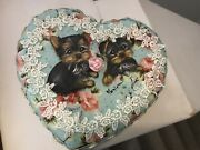Yorkie Two Puppies Hand Painted Roses Heart Jewelry Box