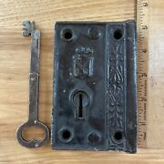 Antique Door Lock Plate With Folding Key Working Heavy Ornate