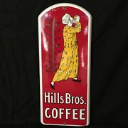 Near Mint Antique Hills Brothers Coffee Porcelain Thermometer Sign