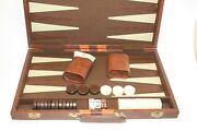 Vintage Cardinal Brown Marble And White Bakelite Backgammon Set Faux Leather Case