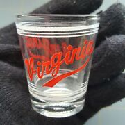 Virginia State Shot Glass Drink Cup Vintage Advertising Logo Liquor Alcohol