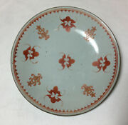 Old Marked Chinese Japanese Hand Made And Pained Red Orange Porcelain Plate