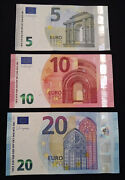Euro 5,10 And 20 Euro Mint Condition Banknotes Bills Currency