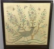Antique German Victorian Framed Hand Silk Embroidered Quail Fire Place Screen