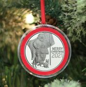 2021 Christmas Ornament Patriotic Santa With Dog And Cat 1 Oz Silver Coin