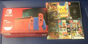 Nintendo Switch 32gb Console Mario Red And Blue Edition W/ 6 Games And 128gb Sd Card