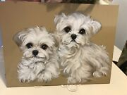 Two Maltese Puppies Original Painting By Monique Wonderful