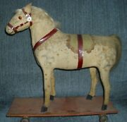 Antique Lg White Horse Pull Toy 12 X 12 In. German Early 1900s