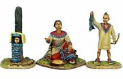 Awi098 Woodland Indian Squaw W/boy Hunter And Baby - First Legion Metal Miniatures