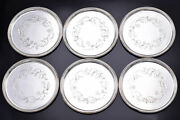 Lot Of 6 Georg Jensen Denmark Sterling Silver Etched Round Coasters 51b