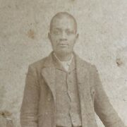 Antique Cabinet Photo African American Black Man Louisville Ky Striped Suite Old