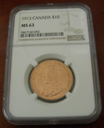 Canada 1913 Gold 10 Dollars 10 Ngc Ms63 George V