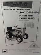 Jacobsen Chief Lawn Garden Tractor 59736 42 Mower Implement Owner And Parts Manual