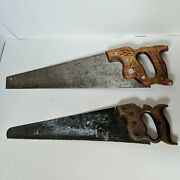 2 Vintage Henry Disston And Sons Saws D-23 Wood Hand Saws Carpentry