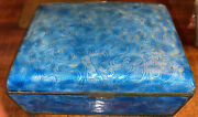 Antique Rare Chinese Bamboo Design Cloisonne Repousse Blue Enamel Small Box