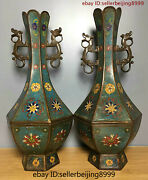 Collect Folk Marked China Chinese Cloisonne Bronze Flower Statue Vase Pair 0709